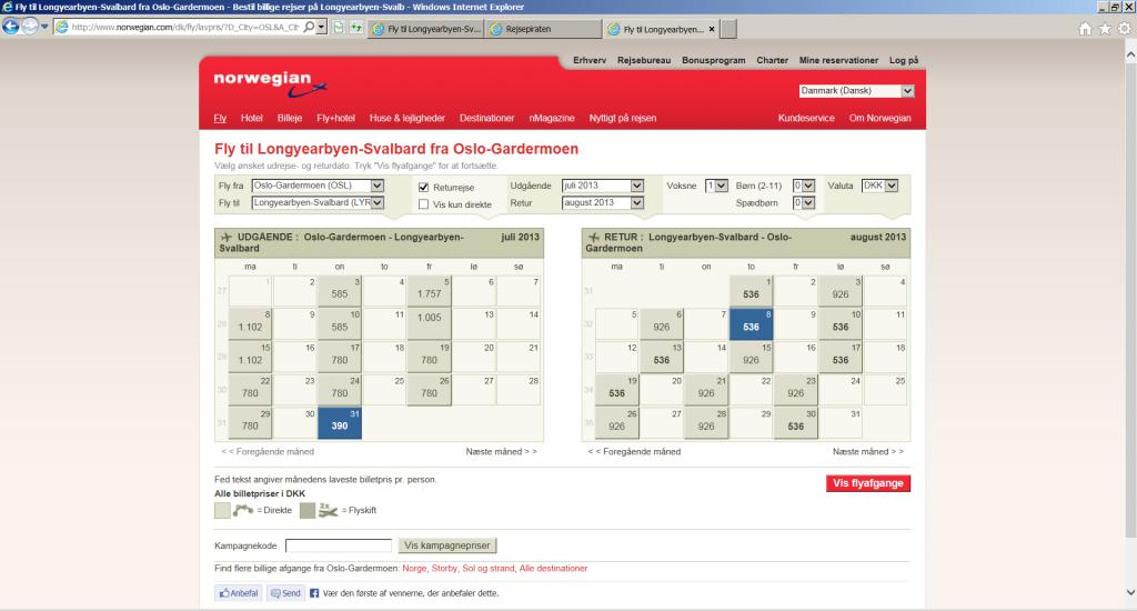 Billige flybilletter til Svalbard